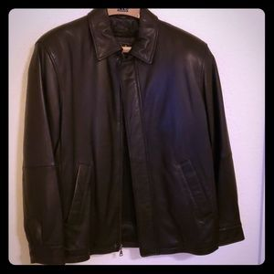 Calf skin Men's leather jacket